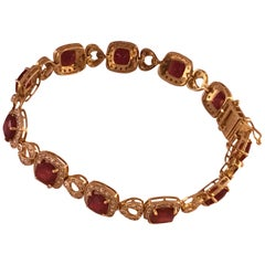 Ruby Diamond Bracelet Set in 14 Karat Yellow Gold