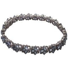 AIGL Certified Diamond Aquamarine Bracelet Set in White Gold