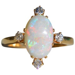 Vintage 3 Carat Opal Diamond 14 Karat Gold Directional Cocktail Ring