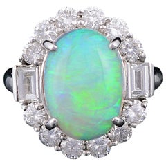 Set in Platinum 900, Australian Opal and Diamonds Wedding or Engagement Ring