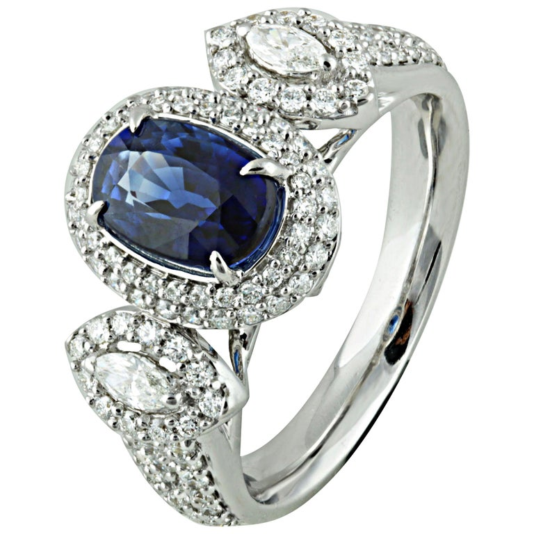 Studio Rêves 1.68 Carat Blue Sapphire and Diamond Ring in 18 Karat White Gold