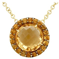 Contemporary Italian 5.60 Carat Citrine Yellow Gold Pendant and Chain
