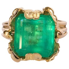 1960s 11.76 Carat Colombian Emerald Foliaged Setting Ring