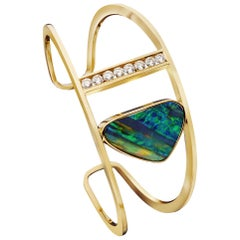 Top Quality Boulder Opal and Diamond Yellow Gold Cuff