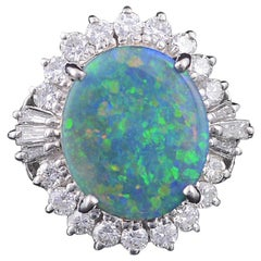 Platinum PT900 Australian Opal and Diamond Engagement or Cocktail Ring