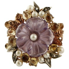 Topazes Amethyst Flower Pearls Diamonds Rose Gold and Silver Cocktail Ring
