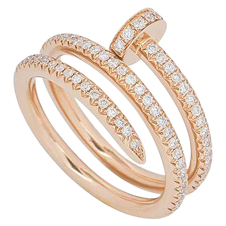 a4abee0de21fd Cartier Rose Gold Full Diamond Juste Un Clou Ring