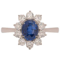 Sapphire and Diamond Engagement Cluster Ring