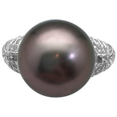 White Gold Repossi Ring, Diamonds and a Tahitian Pearl