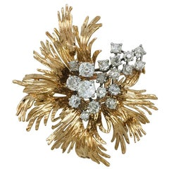 Yellow Gold and Platinum Chaumet Brooch Set with Old Mine Cut Diamonds