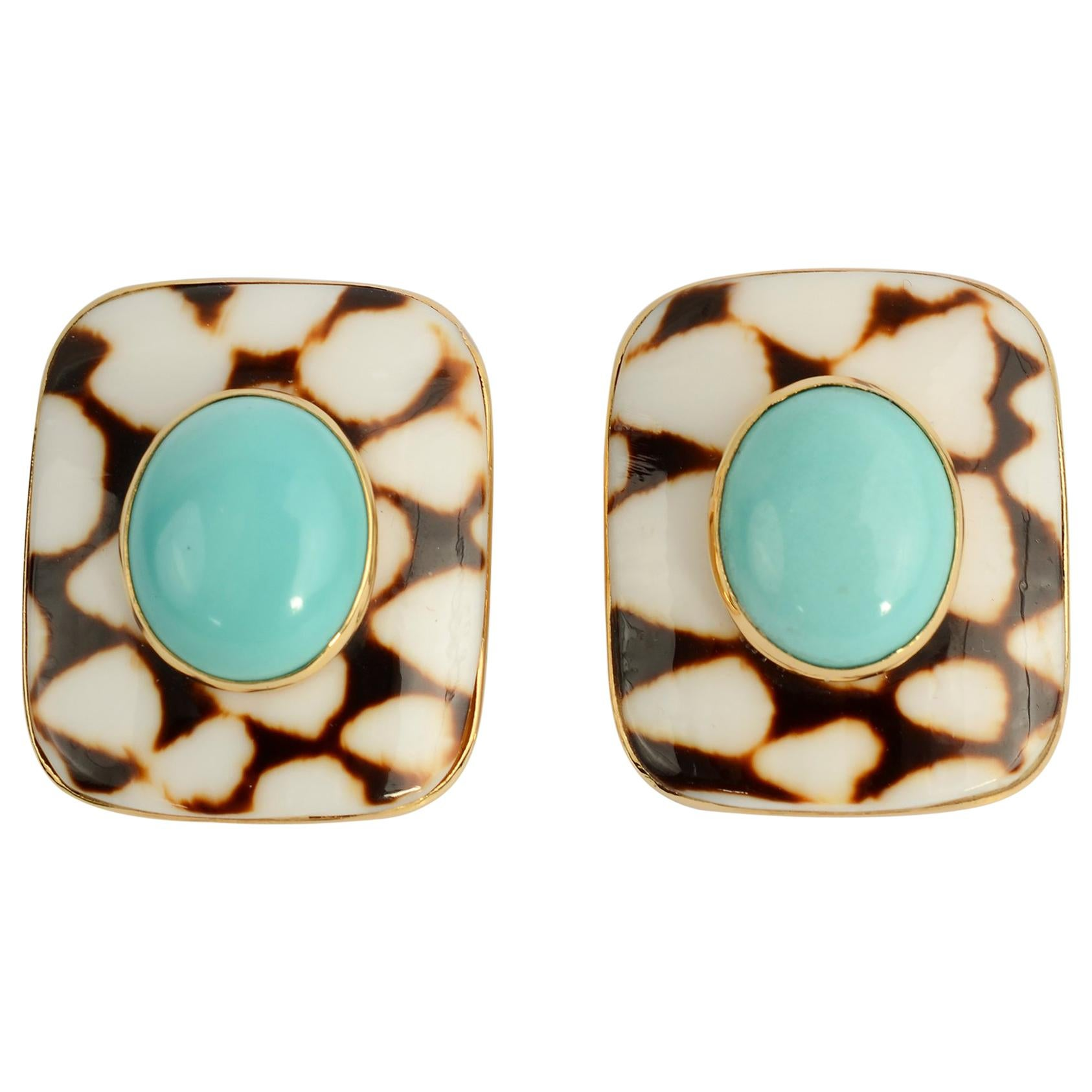 Trianon Shell Earrings with Turquoise