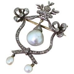 Victorian Natural Pearl and Rose Cut Diamond Brooch