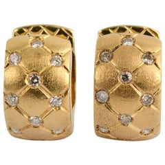 Gold Huggie Earrings with Diamonds