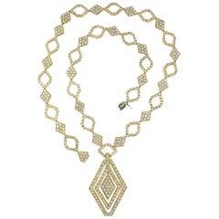 18 Karat Yellow Gold Diamond Long Sautoir Necklace or Bracelet