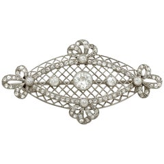 Antique 1.84 Carat Diamond and Platinum Brooch, circa 1900