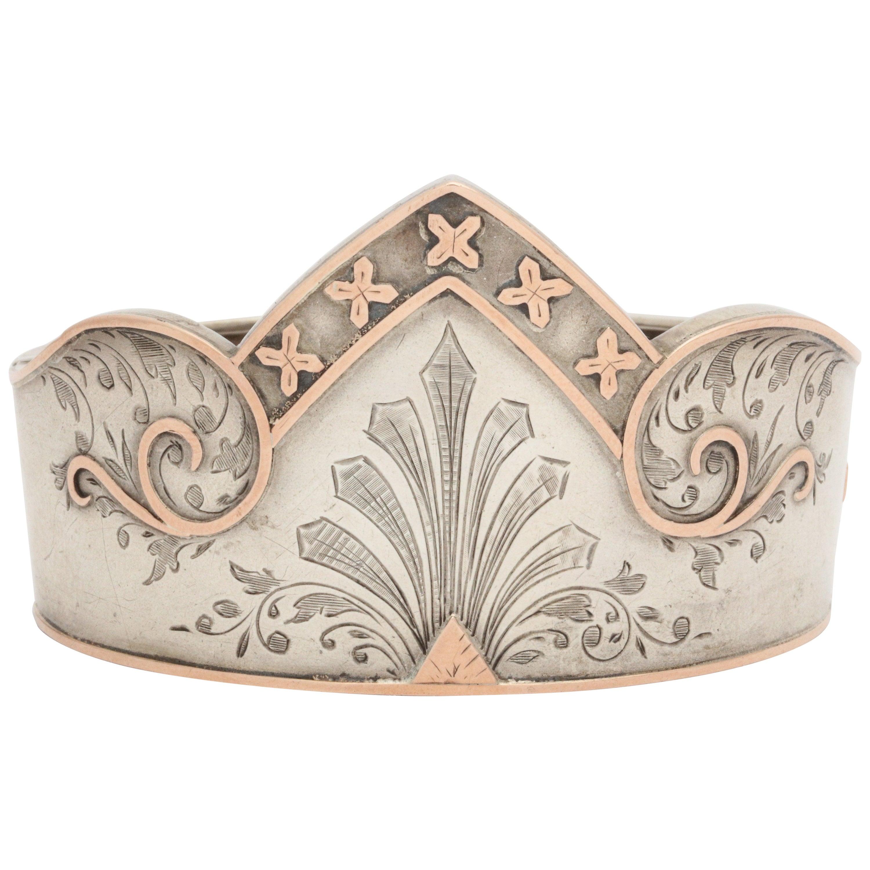 Antique Victorian Sterling Silver Cuff Bracelet