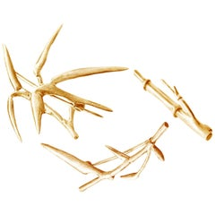 18 Karat Rose Gold Contemporary Bamboo Brooches Triptych by the Artist