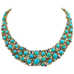 Van Cleef & Arpels Two-Tone Turquoise, Sapphire, Diamond Necklace
