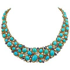 Van Cleef & Arpels Two-Tone Turquoise, Sapphire, Diamond Necklace