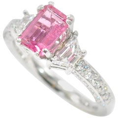 Platinum Emerald Cut Pink Sapphire and Diamond Ring