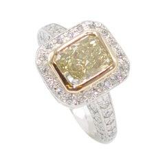 Platinum Yellow Gold Yellow Diamond White Diamond Ring