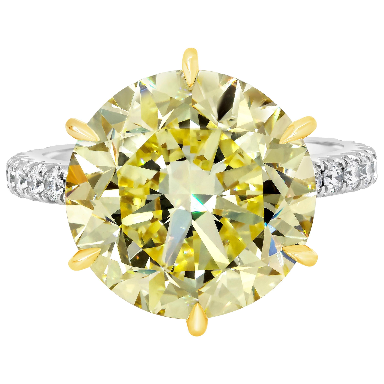 Roman Malakov GIA Certified Fancy Intense Yellow Diamond Engagement Ring