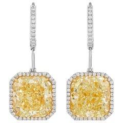 Fancy Yellow Diamond Drop Earrings, 14.21 Carat
