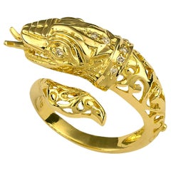 Georgios Collections 18 Karat Yellow Gold Diamond Snake Ring Carved by Hand