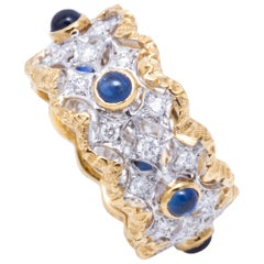Florentine Engraved Cabochon Sapphire and Diamond Italian Ring
