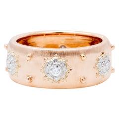 Italian Florentine Engraved Eternity Diamond Ring in 18 Karat Rose Gold
