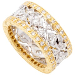 Hand-Engraved Two-Tone 18 Karat Gold and Diamond Ring