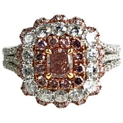 GIA Certified 0.40 Carat Center Natural Fancy Orange-Pink Diamond Halo Ring