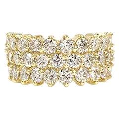 18 Karat Wide Diamond Ring 3.42 Diamond Carat Total Weight