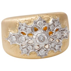 Florentine Engraved Two-Toned 18 Karat Italian Diamond Ring