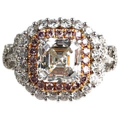 DiamondTown GIA Certified 2.37 Carat Asscher Cut Diamond Halo Ring