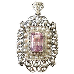 Estate Kunzite Emerald Cut, White Diamond, and Pearl Brooch or Pendant