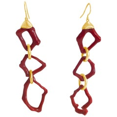 Handmade 18 Karat Yellow Gold and Red Coral Drop Earrings