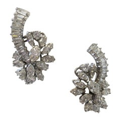 Estate Look White Diamond Marquise, Round, and Baguette Clip Earrings in Plat