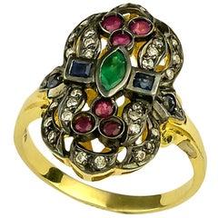 Georgios Collections 18 Karat Gold Diamant Smaragd Rubin Ring mit Schwarzem Rhodium