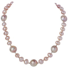 Blush Button Pearl and Natural White Mobe Pearl Necklace with Sterling Clasp