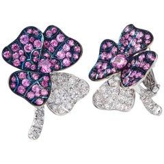Palladium Pink Sapphires White Diamonds Earrings Aenea Jewellery