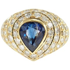 Diamond Sapphire Dome Ring Retro Yellow Gold 18 Karat