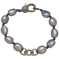 Gray Baroque Pearl Bracelet with Sterling Chain & Sterling Diamond Clasp