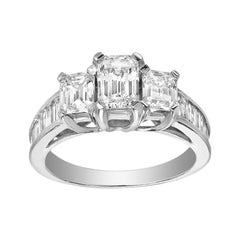 Three-Stone Emerald Cut Diamond Anniversary Gold Engagement Ring