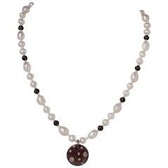 White Baroque Button & Akoya Pearl Necklace w Oxidized Silver Diamond Pendant