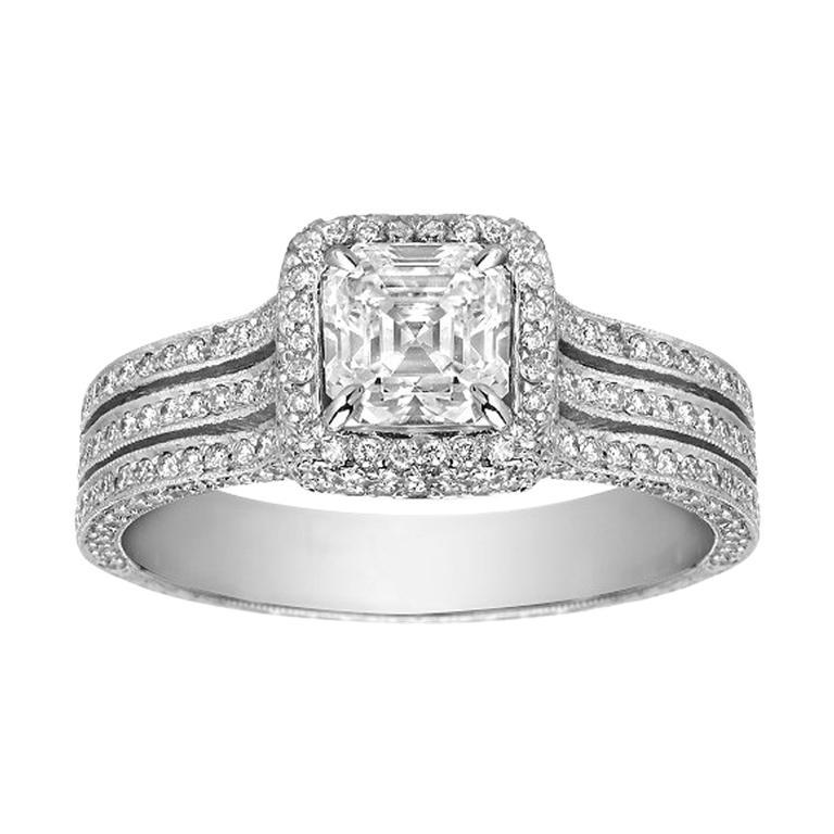 1.05 Carat Asscher Cut Diamond G-VS1 Gold Engagement Ring, GIA