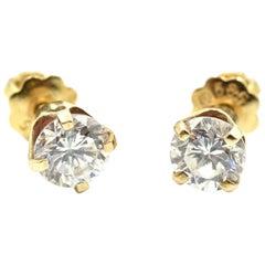 14 Karat Yellow Gold 0.66 Carat Round Diamond Stud Earrings, 1.00 Grams