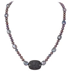 Black Diamond & Sterling Silver Placket Charm Necklace with Gray Baroque Pearls