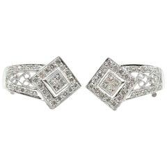 18k White Gold 1.60cttw Princess and Round Cut Diamond Kite Set Vintage Earrings