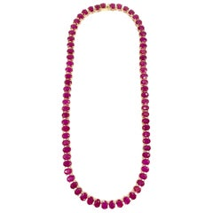 Endless Oval Ruby Necklace in Yellow Gold